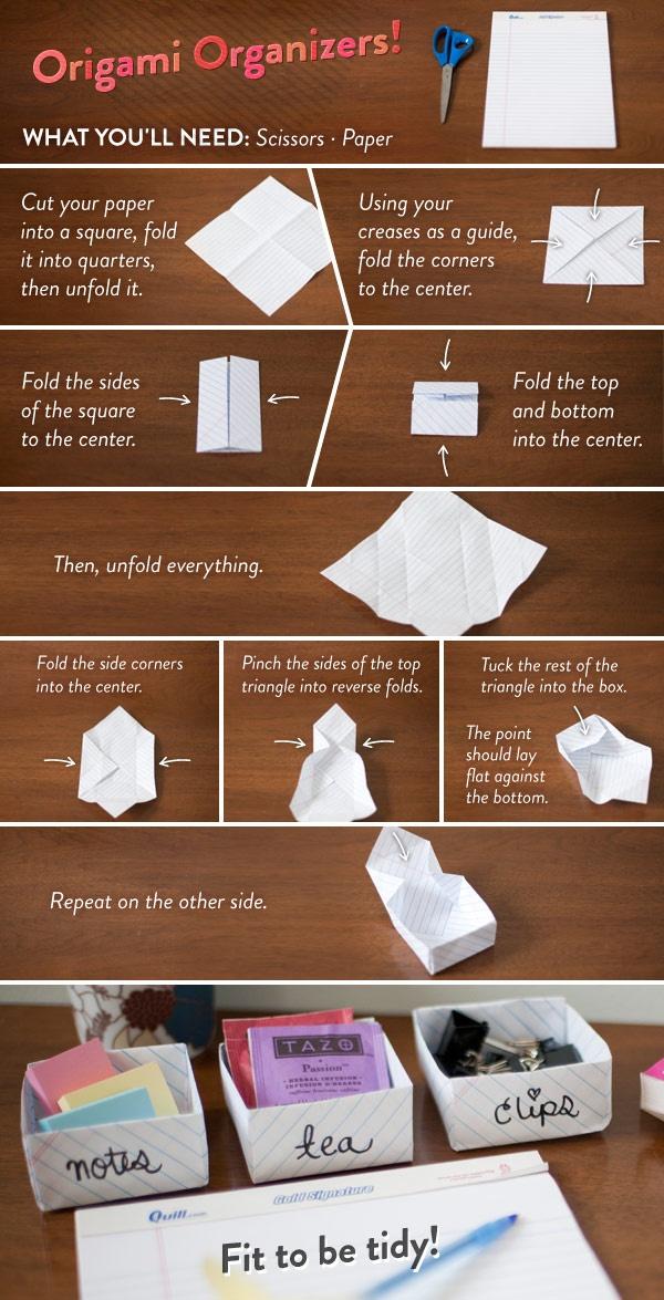 Organiser votre bureau avec l'origami