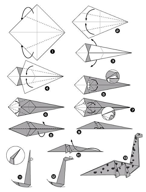 Diagramme origami dinosaure diplodocus origami day chaque jour son origami origami day - Origami grenouille sauteuse pdf ...