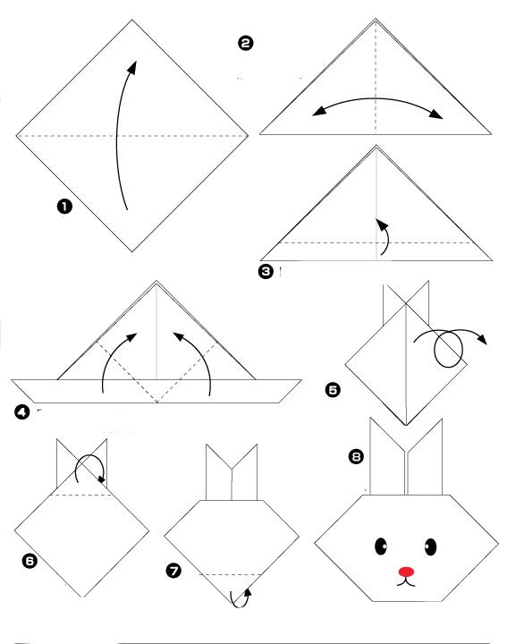 tuto diy t te de lapin de p ques en origami roster con. Black Bedroom Furniture Sets. Home Design Ideas