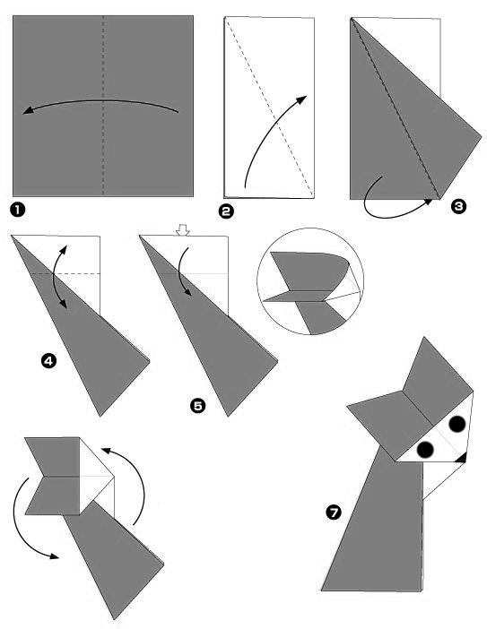 Diagramme origami renard facile animaux origami day chaque jour son origa - Origami simple enfant ...