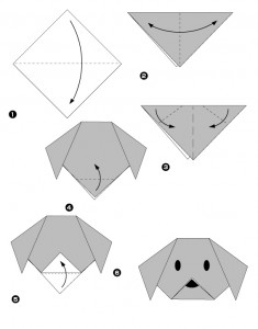 Diagramme facile origami chien