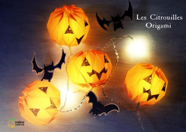 Une guirlande d'Halloween en origami