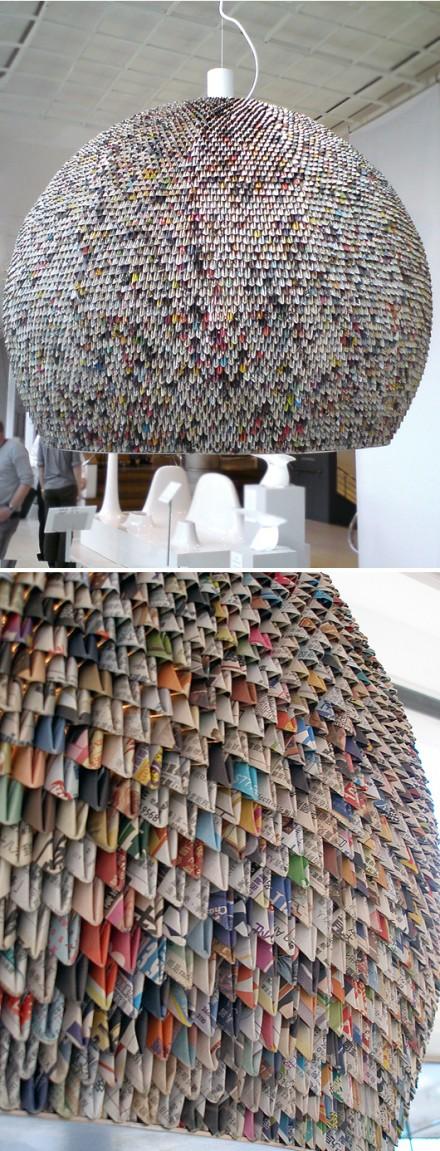 Enorme lustre en origami