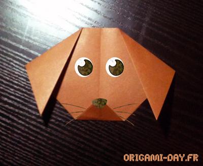Origami tête de chien